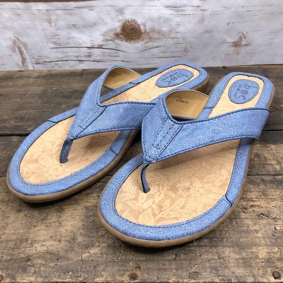 Born Shoes - Born B.O.C. blue slip on flip flop sandals